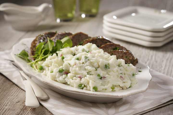 Baby Red Mashed Potatoes & Peas with Spring Meatloaf