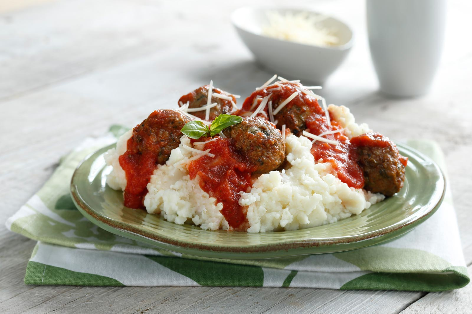Roasted Garlic Mashed Potatoes with Meatballs and Marinara