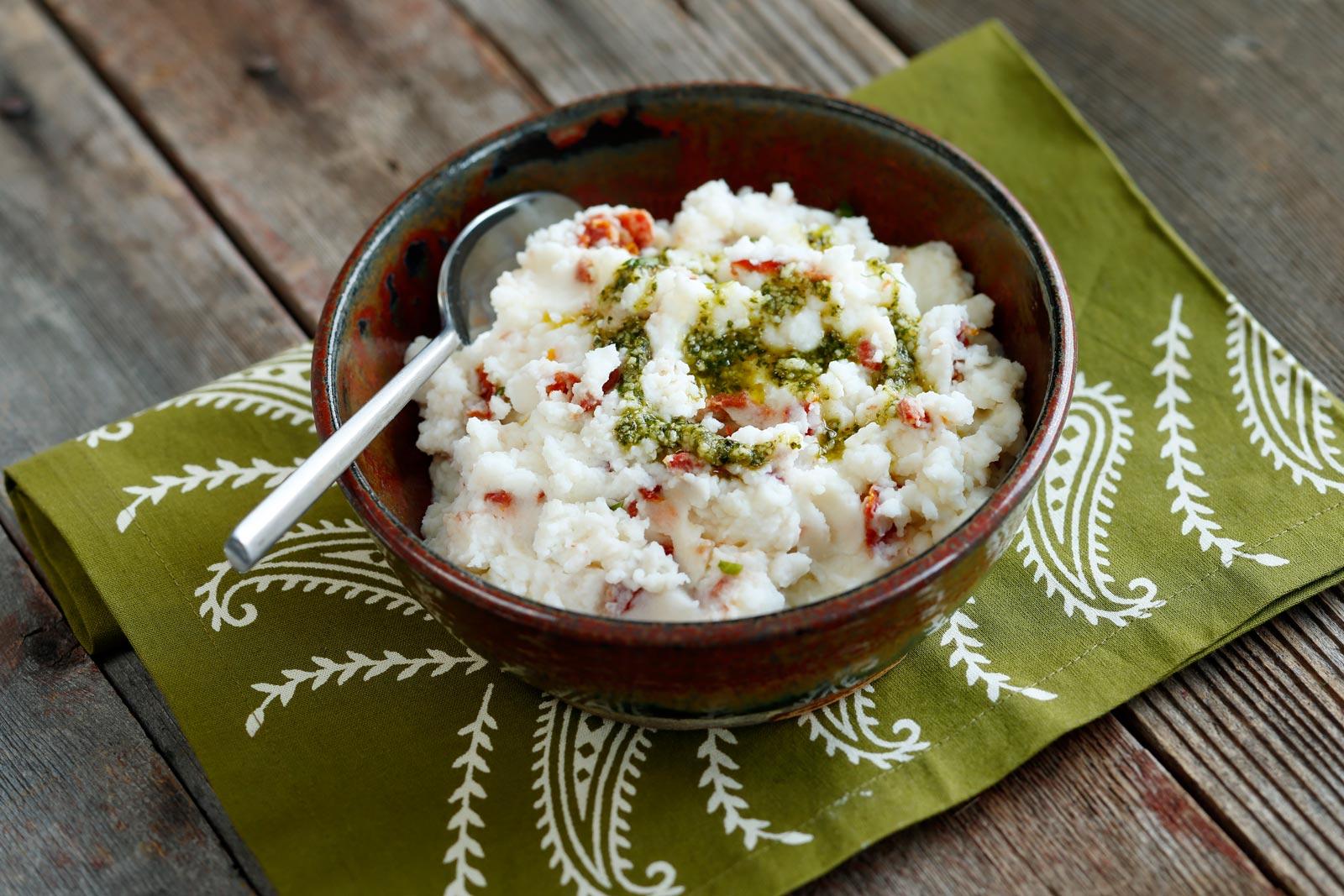 Sun Dried Tomato and Pesto Mashed Potatoes | recipe