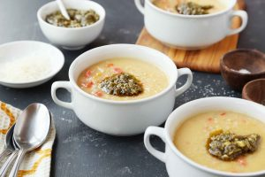 Roasted Garlic and Parmesan Potato Soup with Peppers, Carrots and Pesto