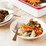 Steakhouse Scalloped Potatoes with Spinach and Carrots