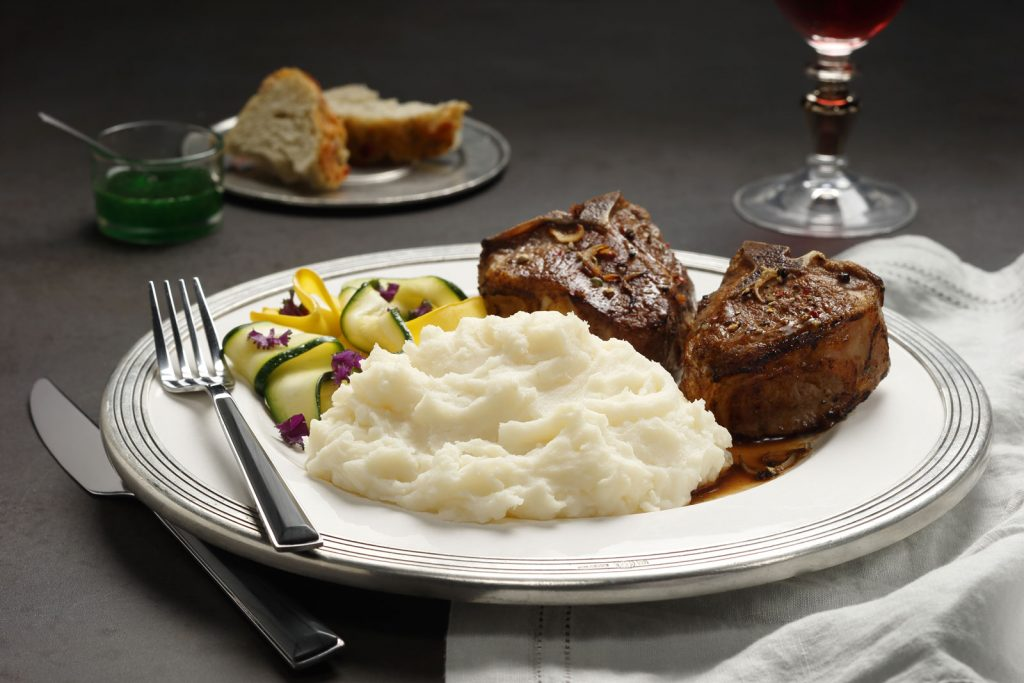 Lamb Chops with Mint Pan Sauce, Idahoan® Classic Mashed Potatoes and Sautéed Zucchini Ribbons