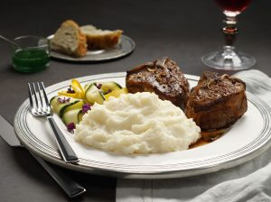 Lamb Chops with Mint Pan Sauce, Idahoan® Classic Mashed Potatoes and Sautéed Zucchini Ribbons