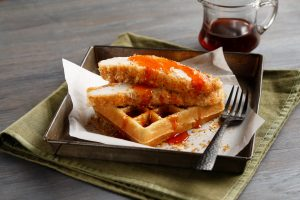 Idahoan Chicken and Waffles with Maple-Sriracha Syrup
