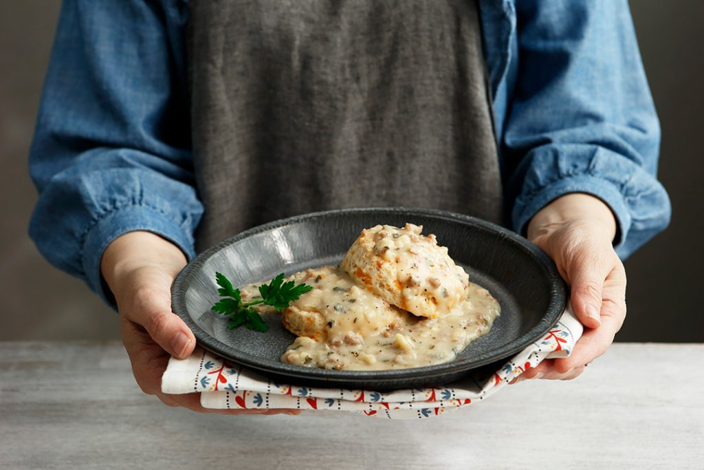 Cheddar Cheese Biscuits and Gravy is a hearty and delicious breakfast.