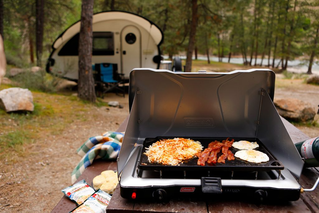 Inexpensive camping food can be as easy as Idahoan Hash Browns.