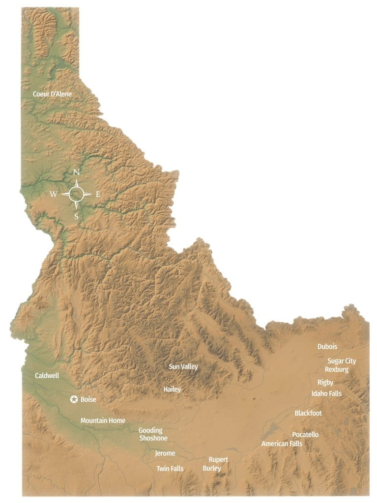 Map of the growing regions of Idaho potatoes.
