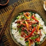 This Asian Mashed Potato Bowl recipe is full of colorful veggies and comes together in a snap with the use of prepared teriyaki sauce and Idahoan Mashed Potatoes.