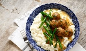 Swedish meatballs with gravy are the perfect Mashed Potato Bowl!