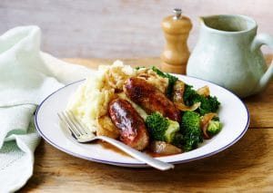 Bangers and Mash are a British classic but this one comes with a fruity twist.