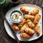 These have a crispy wonton outside with a creamy potato filling inside, and loaded with flavor.