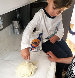 Add flour to prepared Idahoan Mashed Potatoes to make Mashed Potato Play Dough.