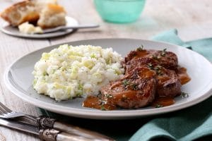 Spring Mashed Potatoes with Beef Medallions and Shallot-Thyme Sauce
