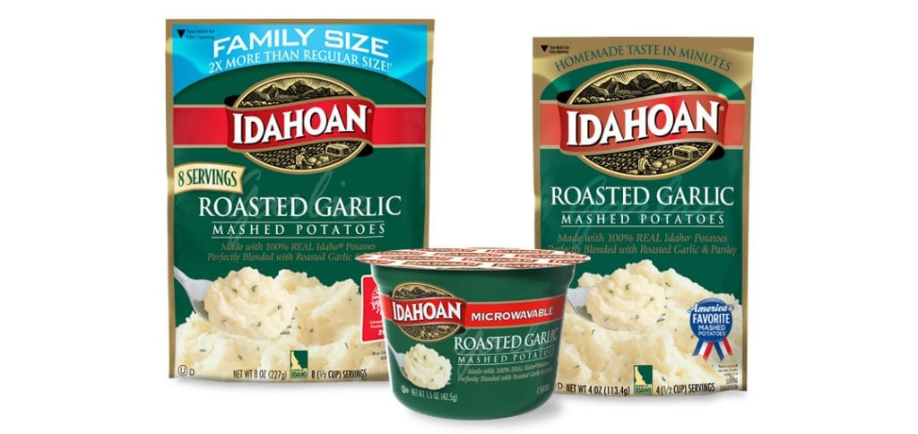 Idahoan Roasted Garlic Mashed Potatoes come in three sizes.