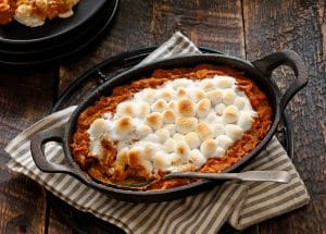 Sweet Potato Casserole with Pecans & Toasted Marshmallows