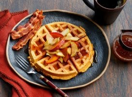 Sweet Potato Waffles with Cinnamon Apple & Nectarine Topping