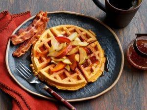 Sweet Potato Waffles with Cinnamon Apple & Nectarine Topping