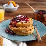 Honest Earth Sweet Potato Waffles with Whip Cream and Berry Compote